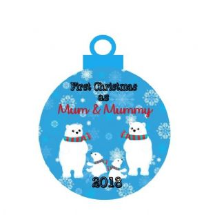 1st Christmas 2 Mums of Twins Acrylic Bauble Christmas Ornament Decoration